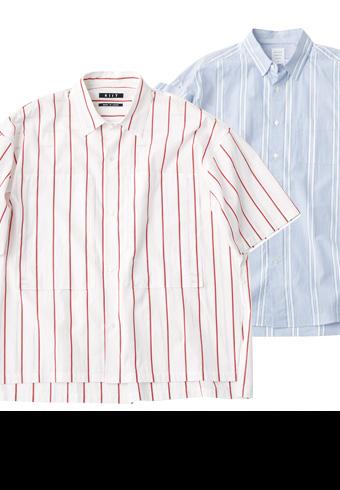 猛暑でも爽やかな印象になるストライプ柄のシャツ_ホットトピックス
